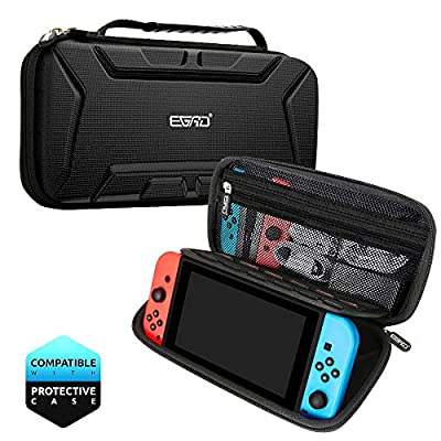 Carry Case Compatible With Nintendo Switch with 15 Game Cartridges, Protective Hard Shell Travel Carrying Case Pouch for Nintendo Switch Console & Accessories,Black