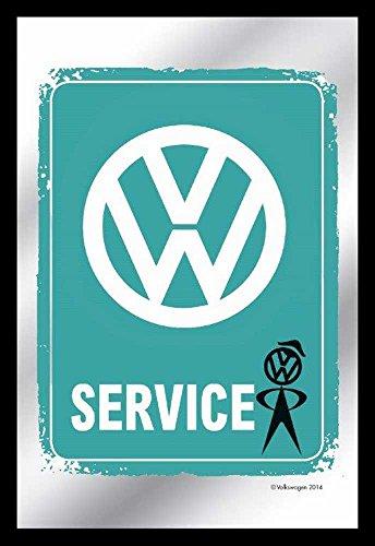 Empire Merchandising 657619 Volkswagen - VW de Planchado Vintage - Espejo con decoración y Marco imitación Madera, Culto-Espejo - 20 x 30 cm