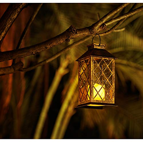 Solar Lantern,Outdoor Lanterns,Waterproof Flickering Flameless Candle Lantern,Solar Lanterns Outdoor Hanging for Patio,Garden,Yard-HomTek