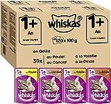 Whiskas 1+ Mélange sélectif de sachets en gelée pour Chat 100 g, Lot de 120