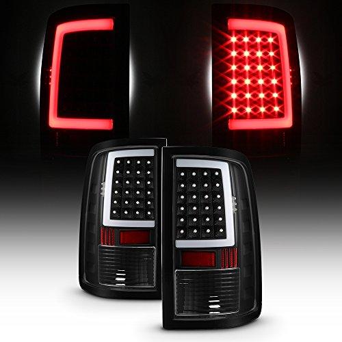 For 2013-18 Dodge Ram Full LED Daytime Running Lamp Strip Tail Lights Black Housing Clear Lens Set