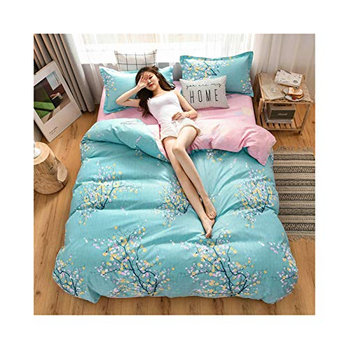 AMDXD Cotton Bedding 3 Piece, Light Blue Pink Flowers Quilt Cover, Bed Sheet and Pillowcase (1Pcs Quilt Cover 150x200cm, 1Pcs Bed Sheet 160x230cm, 1Pcs Pillowcase 48x74cm)