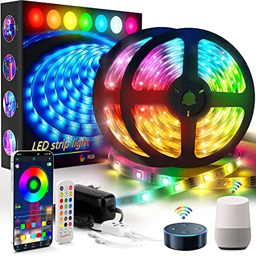 Tiras LED, GolWof 10M Tira Luces LED RGB Inteligente con Control Remoto, App, Compatible con Alexa y Google Home, Sincronización Musical, Banda de Luz para la Habitación Dormitorio Fiesta Bare