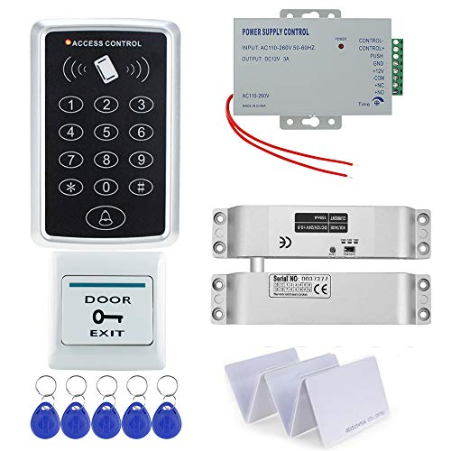 uoweky Kit de Sstema de Bloqueo de Control de Acceso Independiente RFID + Perno Eléctrico de Bloqueo + Energía + Salir + Llaves/Tarjeta con para Hogar/Oficina