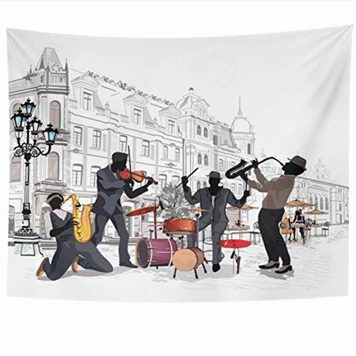 tapisserie Jazz Streets Musiciens dans le vieil artiste City Music Band Sketch Concert Design Home Decor Tenture murale serviette de plage nappe tapis de yoga décoration cadeau 130×150cm(51×59inch)