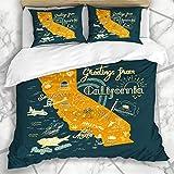 Juegos de fundas nórdicas Hollywood America Mapa de California dibujado a mano Aventura turística Ángeles Atlas Bear Bridge Cactus Road Ropa de cama de microfibra con 2 fundas de almohada Cuidado fáci