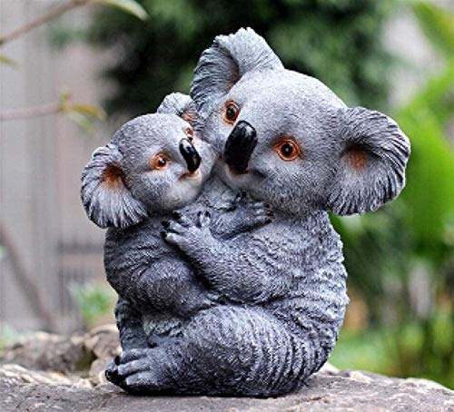 Garden Ornaments Outdoor Statues Garden Koala Ornament Creative Resin Swing Koala Bear Figurine Crafts Outdoor Gardening Decoration Cute Artifical Animal Home Sculpture for Patio,Lawn,Yard Decor,House