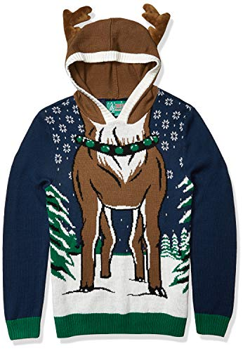 Ugly Christmas Sweater Men's Reindeer Hooded, Blue Onyx, X-Large