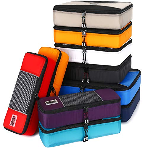 PRO Packing Cubes for Travel | 10 Piece Luggage Organiser Set | Premium Quality Travel Cubes for Packing Suitcase, Carry-on, Bags and Backpack - Mixed Colors