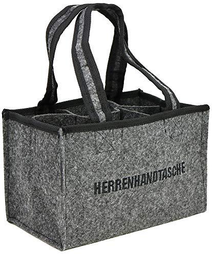 com-four® Herrenhandtasche, Filztasche, Flaschentasche aus Filz für 6 Flaschen, 6er Träger bis 0,5 L, grau/schwarz, 24 x 15 x 15 cm (01 Stück - Filz)
