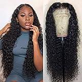 Pelucas delanteras de encaje 13x4 Pelucas de cabello humano para mujeres negras Peluca frontal de encaje de onda profunda brasileña con cabello de bebé 150% de densidad (12 pulgadas)