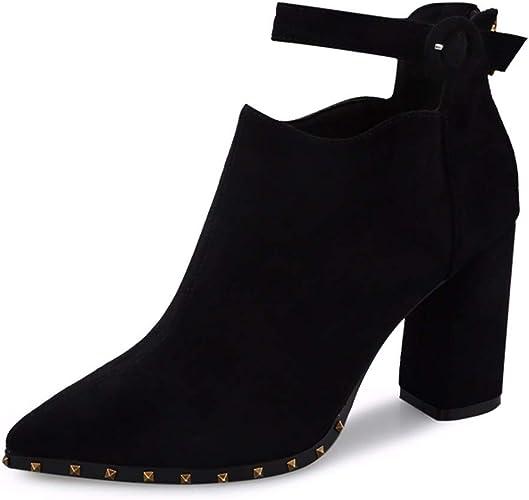 SFSYDDY Chaussures Populaires Un Bouton avec des 9Cm A Souligné épaisses Bottes à Talons Court Les Bottes Talons Bottines.