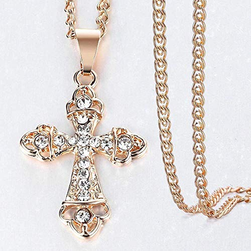 NC110 Crucifix Cross Pendant Necklace for Women Men Rose Gold Snail Link Chain Cross Necklace Fashion GP407