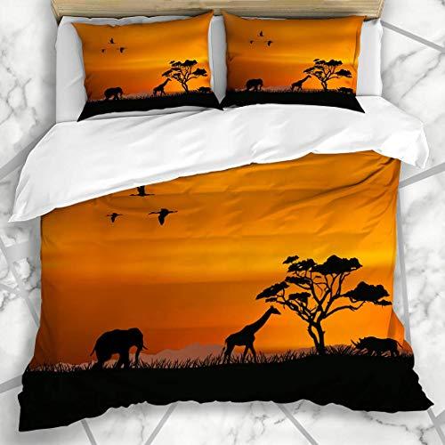 Juegos de fundas nórdicas Sunset Travel African Nature Color del campo Animales Fauna silvestre Animal África Sabana Safari Tree South Soft Microfiber Dormitorio decorativo con 2 fundas de almohada