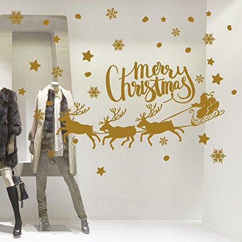 Wall Art NT0349 Slitta Con Tre Renne - 120X60 Cm - Oro - Vetrofanie Natalizie Decorazioni Per Natale Adesivi Natale