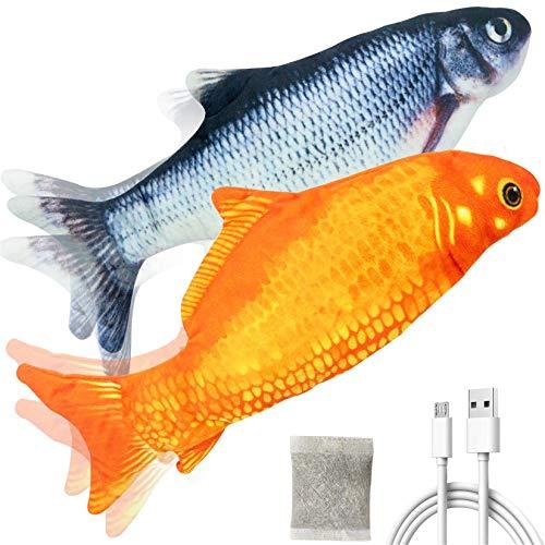 peotue 2pcs Electric Floppy Fish Cat Catnip Toy, Realistic Plush Simulation Electric Wiggle Doll Fish Pets Chew Bite…