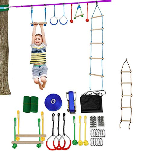 Buy Bargain HUIGE Ninja Warrior Obstacle Course for Kids Backyard Training Equipment Monkey Bars Kit...