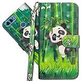 MRSTER Huawei Y5 2018 Handytasche, Leder Schutzhülle Brieftasche Hülle Flip Hülle 3D Muster Cover mit Kartenfach Magnet Tasche Handyhüllen für Huawei Y5 2018 / Honor 7S. YX 3D - Panda Bamboo