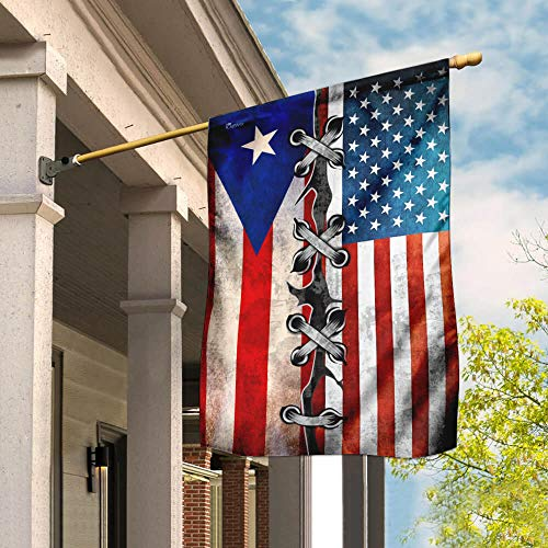 Flags-Proud Puerto Rico Flag MLP14F, House Flag (29.5' x 39.5')-USA House Garden Flags Premium Polyester-Decorative Outdoor Flags