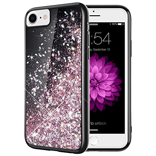 Caka iPhone 7 Glitter Case, iPhone 8 SE 2020 Case Black Liquid Bling Flowing Floating Luxury Sparkle for Women Girls Soft TPU Glitter Case for iPhone 7 8 SE 2020 (4.7 inch) (Rose Gold)