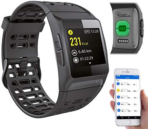 Newgen Medicals Smartwatch GPS Puls: GPS-Sportuhr, Bluetooth, Fitness, Puls, Nachrichten, Farbdisplay, IP68 (Smartuhren)