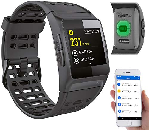 newgen medicals Fitnesstracker mit GPS: GPS-Sportuhr, Bluetooth, Fitness, Puls, Nachrichten, Farbdisplay, IP68 (Smartwatch GPS)