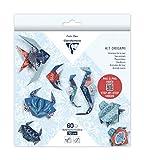 Clairefontaine 95367C – Kit origami de 60 hojas, 70 g, 10 x 10 cm, 15 x 15 cm, 20 x 20 cm, Fauna marina (4 modelos x 5 diseños) con motivos ya colocados para facilitar el plegado