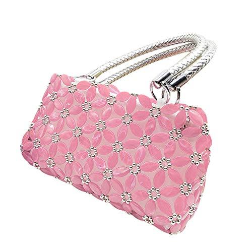 F Fityle DIY Damentasche Tasche Nähset Kreativset Nähen Bastelset Handtasche Bead Hand Knit, iklv. Perlen, Futterbeutel, Nadel und Taschengriff - Rosa