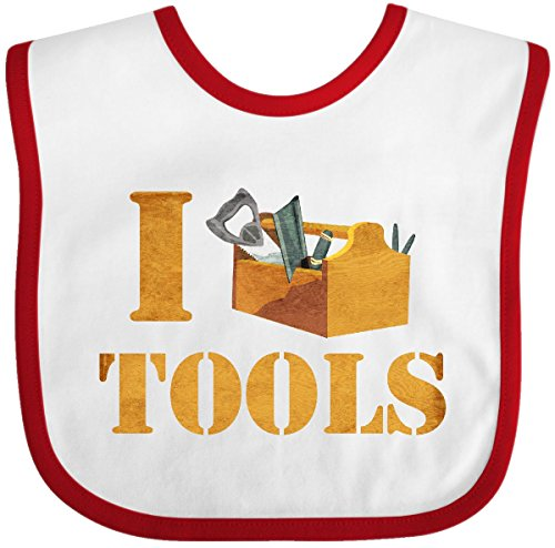 Inktastic - I Love Tools Baby Bib White/Red 2a576