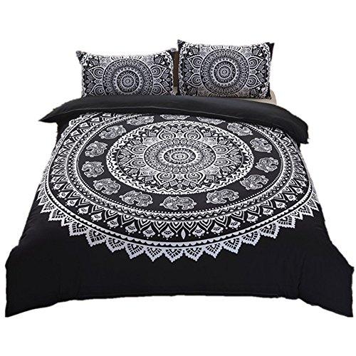Ntbed - Set copripiumino per letto matrimoniale, motivo mandala in stile bohémien, hippie, gitano, yoga, indiano, 2 3 pezzi, biancheria da letto, per la casa, Poliestere, Nero , Double(200x200cm)