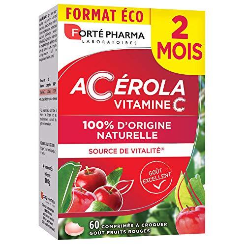 Acérola | Complément Alimentaire Vitalité - Riche en Vitamine C | 60 Comprimés à croquer