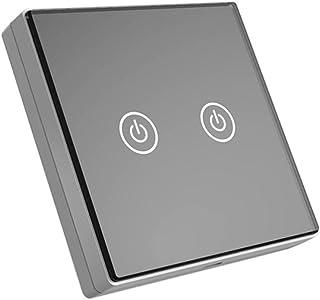H HILABEE Smart Wireless Remote Control Wandlichtschakelaar Glas Touch Panel 2 Kanaals - Zwart