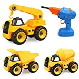 Take Apart Toys with Electric Drill ,10 in 2 Construction Truck Take Apart Toy for Boys, Gift Toys for Boys 3,4,5,6,7 Year Olds, Kids Building Beach Toy Construction Vehicle Car