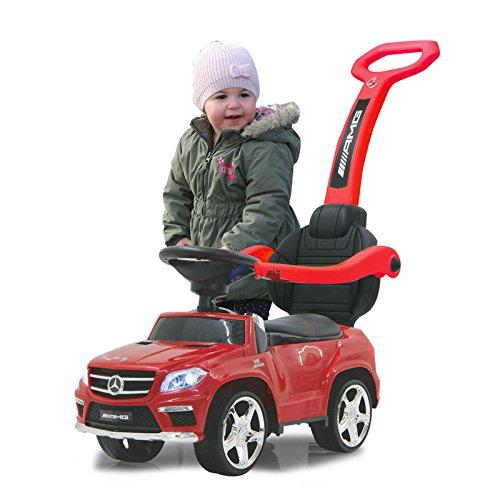 Jamara 460242 - Rutscher Mercedes GL63AMG rot 2in1 – Kippschutz, Kunstledersitz, Kofferraum, Schub- und Haltestange mit Rückenlehne / Schutzbügel, Scheinwerfer vorne / hinten, Motorsound, Hupe, Musik