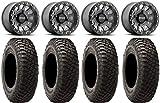 Bundle - 9 Items: Method 401 15' Beadlock Titanium Wheels 32' BFG KM3 Tires [4x137 Bolt Pattern 12mmx1.5 Lug Kit]
