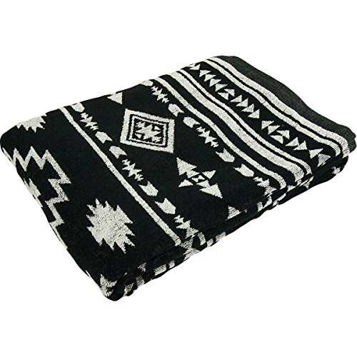タオルケット 綿100% ジャガード織 オルテガ柄 シングルサイズ 140×200cm (ブラック)