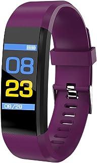 LINGJIA Pulsómetros Smart Fitness Tracker Pulsera Monitor De Ritmo Cardíaco Pulsera Fitness Tracker Sport Podómetro Reloj De Pulsera para Android iOS Purple