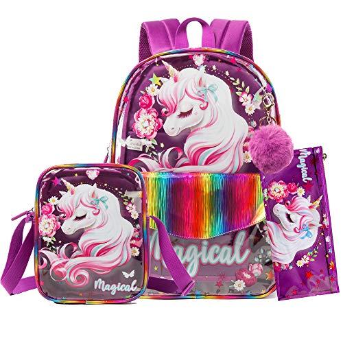 HTgroce Unicornio Mochila Escolar Material E scolar&Fiambrera Duradera Transparente&Estuche Escolar Niña Regalos para niñas de 3-8 años
