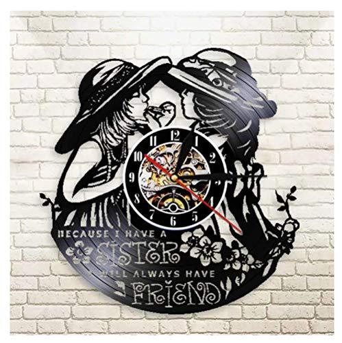 Liushenmeng Vinilo Reloj de Pared Hermanas gemelas Vinilo Pared Reloj Idea de Regalo Creativo Reloj De Pared Vintage Colgante Reloj De Pared Reloj Único diámetro 30cm