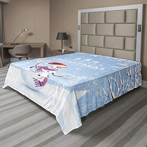 Ambesonne Christmas Flat Sheet, Snowman in a Snowy Winter Day with Xmas Hat Frosty Noel Kids Nursery Theme, Soft Comfortable Top Sheet Decorative Bedding 1 Piece, King Size, White Blue