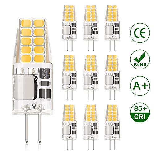 DiCUNO G4 LED-lamp 3W, AC/DC 12V met 300 Lumen, SMD, 20 * 2835, Vervanging voor 30W halogeenlampen, Warm wit 3000K, Niet dimbaar, Geen flikkering, 10 Stuks