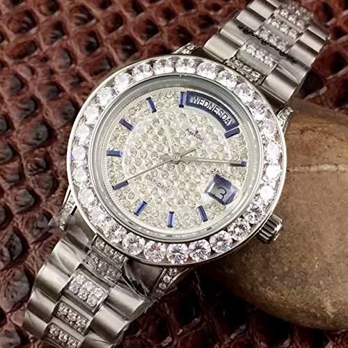 PLKNVT Luxusmarke New Men Daydate Gold Silber Volldiamanten Uhr Automatik Mechanik Edelstahl Saphirglas Uhren LimitedSilber