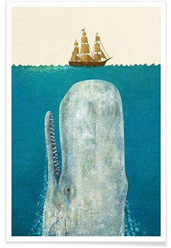 """JUNIQE® Kinderzimmer & Kunst für Kinder Poster 60x90cm - Design """"The Whale"""" entworfen von Terry Fan"""