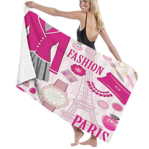 Beach Towel Microfiber Camping Towel ,Fashion Theme in Paris with Outfits Dress Watch Purse Perfume Parisienne Landmark,Quick Dry Microfibre Pool Towels Suitable for Adults Women Men1