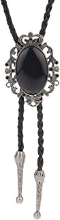 LIANCHI Western Crown Black Bolo Tie for Men and Women,Native American Leather Bolo Tie String