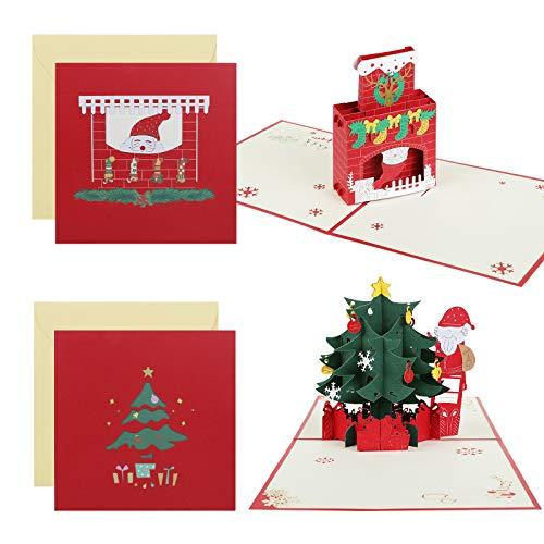 Kesote 2 Tarjetas de Felicitación 3D Tarjeta de Navidad con Sobres (Árbol de Navidad + Chimenea)
