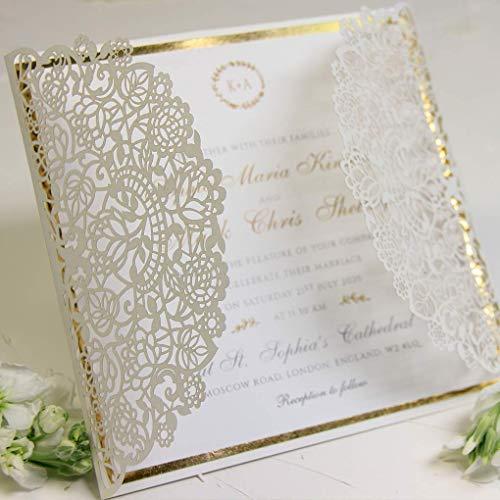 CAMPIONE invito partecipazione matrimonio fai da te elegante SET anniversario fidanzamento compleanno battesimo DIY bianco oro taglio laser con busta