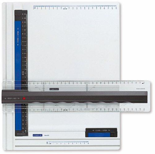 Staedtler Zeichenplatte Mars, 661 A4, DIN A4, hohe Qualität, aus schlag- und bruchfestem Kunststoff, Parallel-Zeichenschiene, Doppelnutführung, weiß