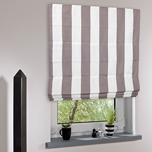 Liedeco Raffrollo Streifen | lichtdurchlässig | B 100 x H 190 cm | Hellbraun/weiß