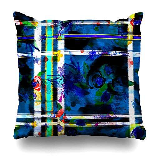 Mesllings - Funda de almohada decorativa con diseño de acuarela, color blanco, rosa, azul, diseño de rayas de la naturaleza, abstracto, rojo, negro, con cremallera, diseño floral, 50 x 50 cm, cuadrado para decoración del hogar